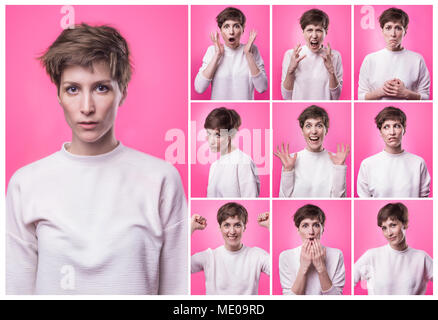 Different emotions collage. Set of young emotional girl isolated over pink background. Female different emotions. - Stock Photo