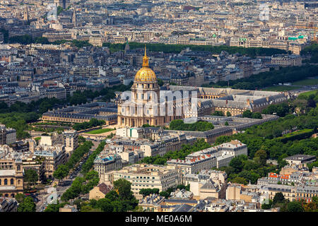 Aerial view of famous Les Invalides and typical Parisian buildings as seen from Montparnasse Tower in Paris, France. - Stock Photo