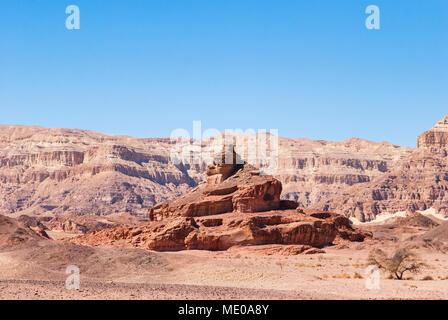 the spiral hill is one of many unique sandstone landforms at Timna Park in southern Israel - Stock Photo