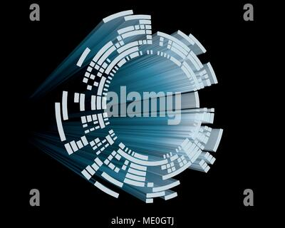 Abstract circular display element for user interfaces, HUD, diagrams and sci-fi. - Stock Photo