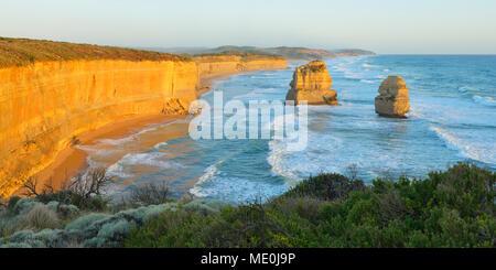 Limestone Stacks of the Twelve Apostles along the coastal shoreline at Princetown, Great Ocean Road in Victoria, Australia - Stock Photo