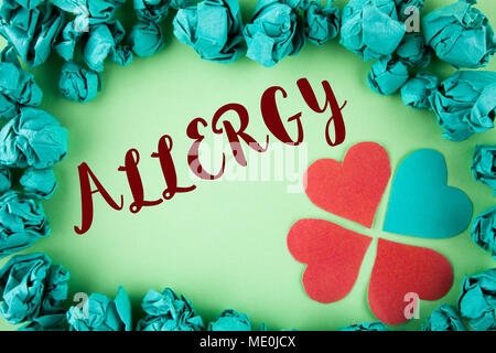Handwriting text Allergy. Concept meaning damages in immunity due to hypersensitivity get it diagnised written plain background within Paper Balls Hea - Stock Photo