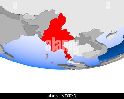 Myanmar on 3D model of political globe with transparent oceans. 3D illustration. - Stock Photo