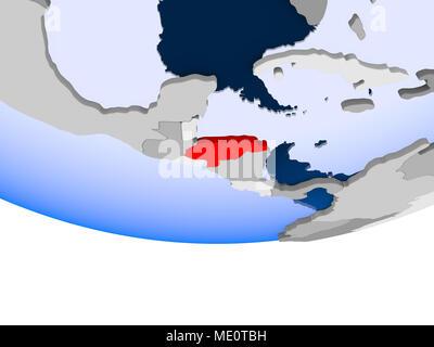 Honduras on 3D model of political globe with transparent oceans. 3D illustration. - Stock Photo