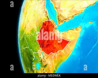 Ethiopia as seen from Earth's orbit on planet Earth highlighted in red with visible borders. 3D illustration. Elements of this image furnished by NASA - Stock Photo