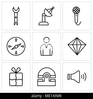 Set Of 9 simple editable icons such as Mute speakers, Old phone, Bookmark, Diamond, Male avatar, Compass, Voice recorder, Satellite dish, Wrench, can  - Stock Photo