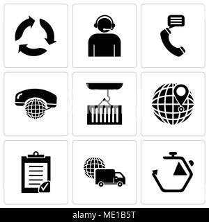 Set Of 9 simple editable icons such as Chronometer, International logistics delivery truck, Clipboard verification, International delivery, Container  - Stock Photo