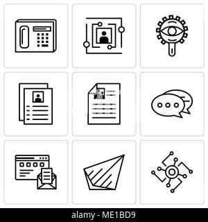 Set Of 9 simple editable icons such as Cpu, Send, Browser and mail, Chat, Flyer, View, User, Phone, can be used for mobile, web UI - Stock Photo