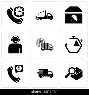 Set Of 9 simple editable icons such as Search delivery service tool, Logistics delivery truck in movement, Call center service for information, Chrono - Stock Photo