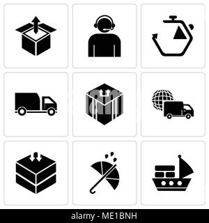 Set Of 9 simple editable icons such as Sea ship with containers, Protection, Delivery packing, International logistics delivery truck, Delivery packag - Stock Photo