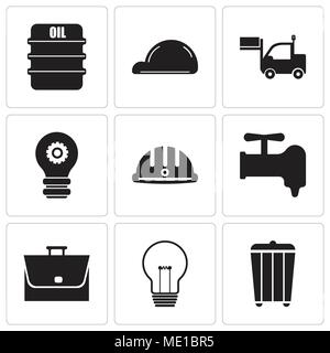 Set Of 9 simple editable icons such as trash, bulb, bag, crane, hard hat, setting lamp, lorry, helmet, oil, can be used for mobile, web UI - Stock Photo