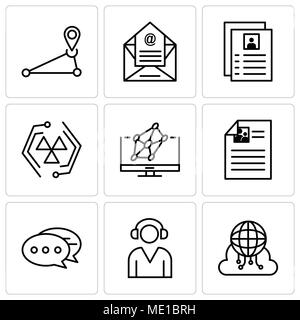 Set Of 9 simple editable icons such as Cloud computing, Support, Chat, Hologram, Cells, Flyer, Email, Pin, can be used for mobile, web UI - Stock Photo