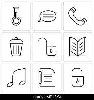 Set Of 9 simple editable icons such as Locked padlock, Piece of paper and pencil, Musical note, Open book, Unlocked padlock, Dustbin, Headphones, Spee - Stock Photo