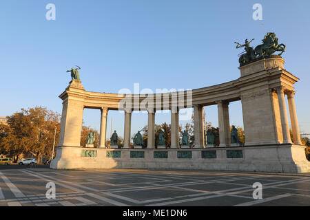 Heroes' Square Budapest Hungary Statues of Kinds and Royalty - Stock Photo