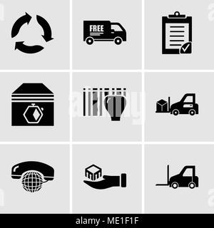 Set Of 9 simple editable icons such as Logistics transport, Package delivery in hand, International calling service, Delivery transportation machine,  - Stock Photo