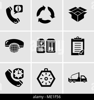 Set Of 9 simple editable icons such as Crane truck, Localization orientation tool of compass with cardinal points, Phone auricular and clock delivery, - Stock Photo