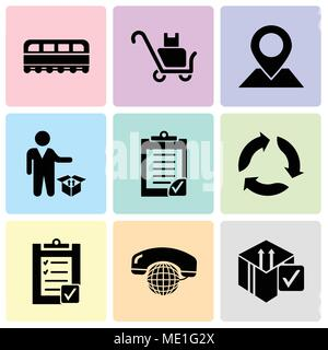 Set Of 9 simple editable icons such as Delive box verification, International calling service, Verification of delivery list clipboard, Triangular arr - Stock Photo