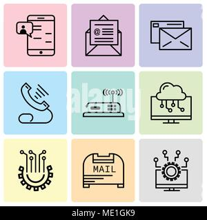 Set Of 9 simple editable icons such as Laptop, Mail box, Settings, Laptop, Router, Telephone, Mail, on mail, Chat in Smartphone, can be used for mobil - Stock Photo