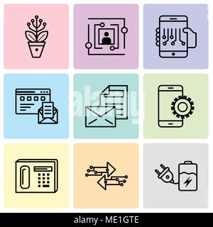 Set Of 9 simple editable icons such as Battery, Transfer, Phone, Setup, Mail, Browser and mail, Smartphone, User, Settings, can be used for mobile, we - Stock Photo