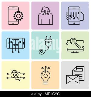 Set Of 9 simple editable icons such as Mail, Idea, Analysis, Monitor, Plug, Smartphone, Smartphone, Cloud computing, Setup, can be used for mobile, we - Stock Photo