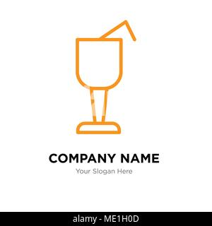 Cocktail glass company logo design template, Business corporate vector icon - Stock Photo