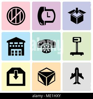 Set Of 9 simple editable icons such as Airplane in vertical ascending position, Package cube box for delivery, Delivery of a box, Logistics weight sca - Stock Photo