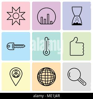 Set Of 9 simple editable icons such as Magnifying glass, International globe, Location pointer, Thumb up, Mercury thermometer, Key, Hand pointing to l - Stock Photo