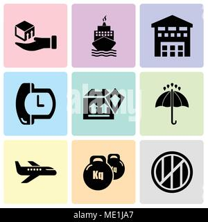 Set Of 9 simple editable icons such as Wood package box of square shape for delivery, Weight tool, Air transport, Black opened umbrella, Delivery pack - Stock Photo