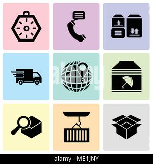 Set Of 9 simple editable icons such as Package for delivery, Container hanging of a crane, Search delivery service tool, Delivery package with umbrell - Stock Photo