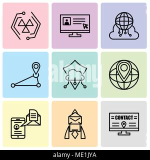 Set Of 9 simple editable icons such as Billboard, Email, Mail and spartphone, World placeholder, Protection, Pin, Cloud computing, Laptop and cursor,  - Stock Photo