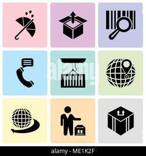 Set Of 9 simple editable icons such as Delivery package, Man standing with delivery box, International delivery business, International delivery, Cont - Stock Photo