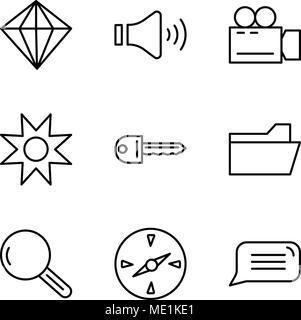 Set Of 9 simple editable icons such as Speech bubble, Compass, Magnifying glass, File folder, Key, Star, Video camera, Mute speakers, Diamond, can be  - Stock Photo