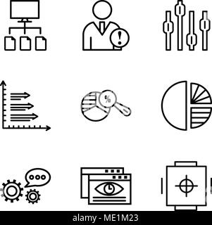Set Of 9 simple editable icons such as Safe box, Data viewer, 3d data analytics, Simple chart, Pie chart analysis, Analytics, Box plot chart, Data ana - Stock Photo