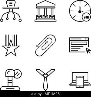 Set Of 9 simple editable icons such as electronics, tie, microphone, search, clip, star, watch, government building, table, can be used for mobile, we - Stock Photo
