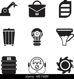 Set Of 9 simple editable icons such as saw blade, energy check, oil, funnel, setting lamp, trash, battery, portfolio, jenny, can be used for mobile, w - Stock Photo