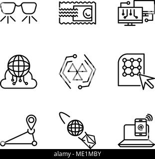 Set Of 9 simple editable icons such as Smartphone and laptop, email planet, Pin, Click, Cells, Cloud computing, Network, Stamp, Ar glasses, can be use - Stock Photo