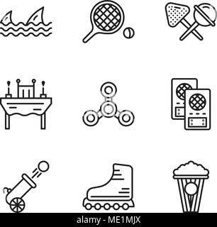 Set Of 9 simple editable icons such as Popcorn, Rollers, Cannon, Loudspeaker, Drone, Dinner, Candy, Table tennis, Sharks, can be used for mobile, web  - Stock Photo
