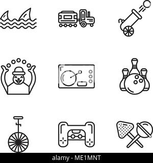 Set Of 9 simple editable icons such as Candy, Playstation, Circus, Bowling, Coffee, Monkey, Cannon, Kid, Sharks, can be used for mobile, web UI - Stock Photo