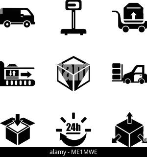 Set Of 9 simple editable icons such as Delivery cube box package with four arrows in different directions, 24 hours delivery, Delivery packaging box,  - Stock Photo