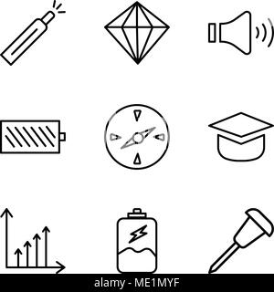Set Of 9 simple editable icons such as Pushpin, Battery charging, Benefit chart, Add tool, Compass, Battery level, Mute speakers, Diamond, Battery lev - Stock Photo