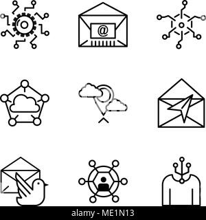 Set Of 9 simple editable icons such as Human, User, Mail bird, Mail, Placeholder, Cloud computing, Analytics, Mail, Settings, can be used for mobile,  - Stock Photo