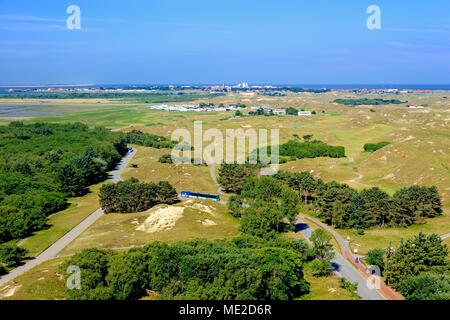 View from the Norderney lighthouse over the island landscape with the village of Norderney, Norderney, East Frisian Islands - Stock Photo