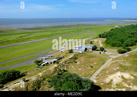 View from the Norderneyer lighthouse to the airport, Norderney, East Frisian Islands, North Sea, Lower Saxony, Germany - Stock Photo