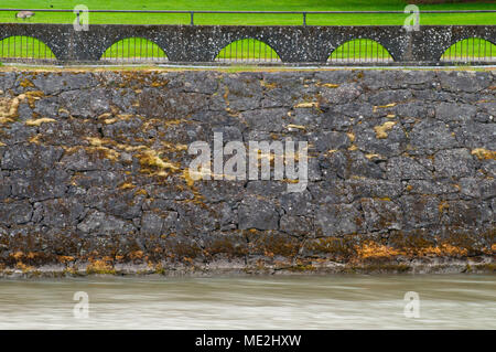 Lock rockwork, Cascade Locks Marine Park, Cascade Locks, Columbia River Gorge National Scenic Area, Oregon - Stock Photo