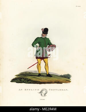 English gentleman, 1590. Sword-and-buckler man of Shakespeare's time. He wears a doublet, breeches and hose, and carries a sword and buckler with central spike. Handcoloured lithograph by Maddocks after an illustration by S.R. Meyrick from Sir Samuel Rush Meyrick's A Critical Inquiry into Antient Armour, John Dowding, London, 1842. - Stock Photo