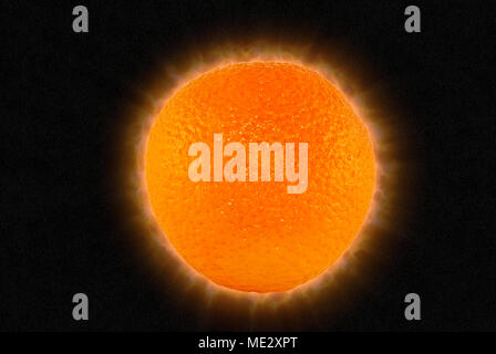 orange in the form of the sun - with a solar corona and prominences on a black background with stars - Stock Photo