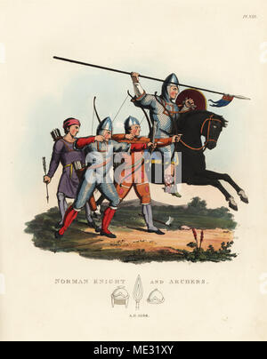 Norman knight and archers, 1066. Knight on horseback with lance wearing mascled armour and one of the bowmen in flat-ringed chainmail armour. Handcoloured lithograph after an illustration by S.R. Meyrick from Sir Samuel Rush Meyrick's A Critical Inquiry into Antient Armour, John Dowding, London, 1842. - Stock Photo