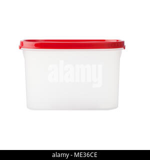 white plastic box with red cab isolated on white background - Stock Photo
