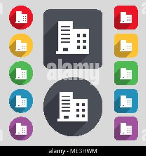 high-rise commercial buildings and residential apartments icon sign. A set of 12 colored buttons and a long shadow. Flat design. Vector illustration - Stock Photo