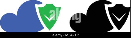 Cloud security icon, data protection flat icon - Stock Photo